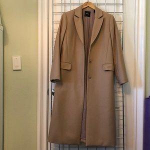 Theory tan long wool coat